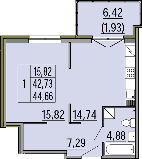 1-комнатная, 44.66 м²– 2