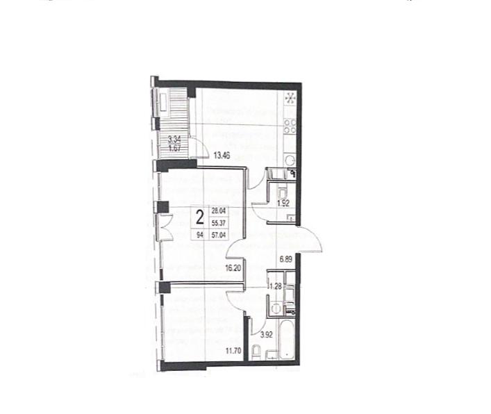 2-к.кв, 58.71 м²