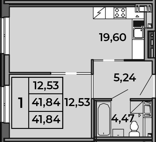 2Е-комнатная, 41.84 м²– 2