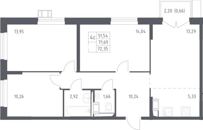 4Е-к.кв, 72.35 м², 13 этаж