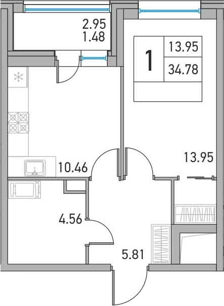 1-комнатная, 34.78 м²– 2