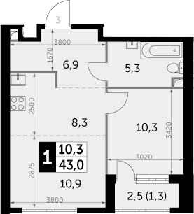 1-комнатная, 43 м²– 2