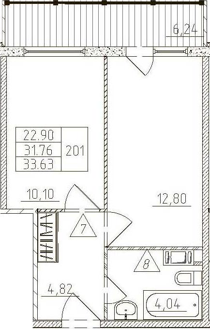 1-к.кв, 38 м²