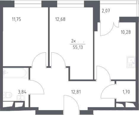 2-к.кв, 55.13 м²