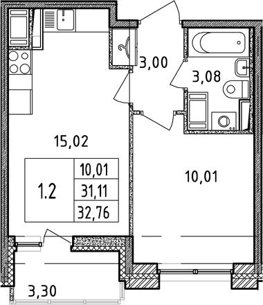 2Е-комнатная, 31.11 м²– 2