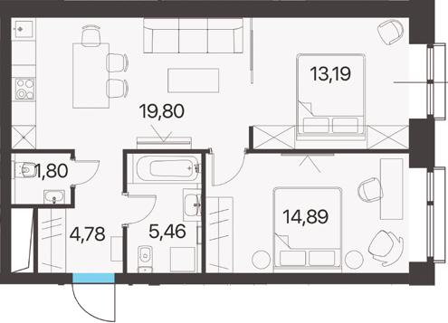 2-к.кв, 59.92 м²