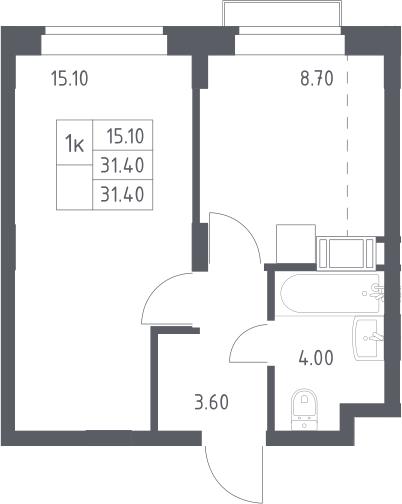 1-к.кв, 31.4 м², 15 этаж