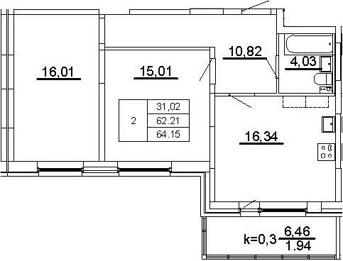 3-к.кв (евро), 68.68 м²
