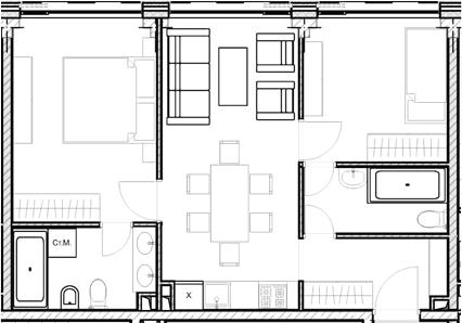 Свободная планировка, 53.46 м²– 2