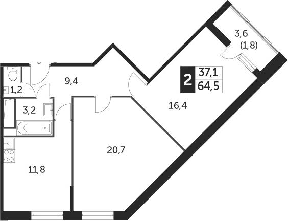 2-к.кв, 64.4 м², от 8 этажа