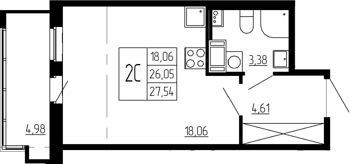 Студия, 26.05 м²– 2