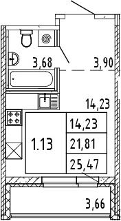 Студия, 25.47 м²– 2