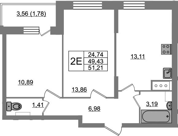 2-к.кв, 51.21 м²