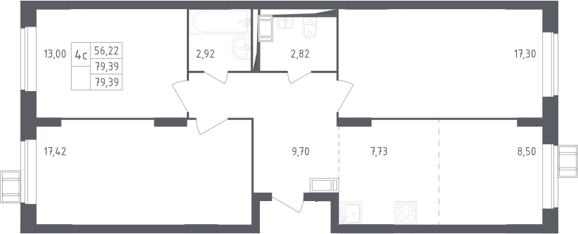 4Е-к.кв, 79.39 м²