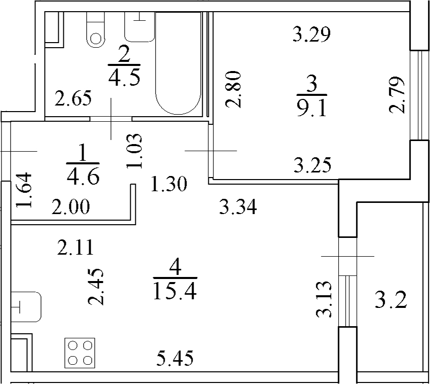 2Е-к.кв, 35.2 м²