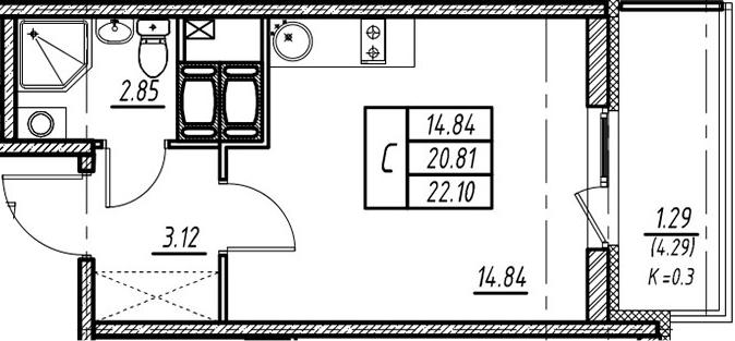 Студия, 20.81 м²