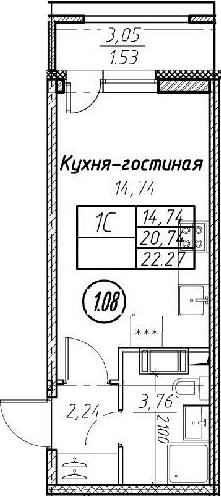 Студия, 22.27 м²