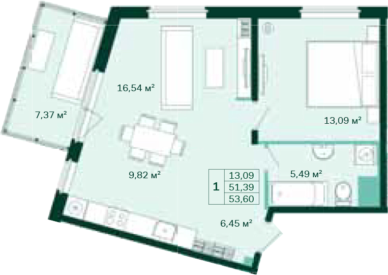2-к.кв (евро), 58.76 м²
