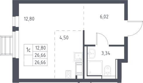 Студия, 26.66 м²