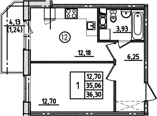 1-к.кв, 36.3 м², от 2 этажа