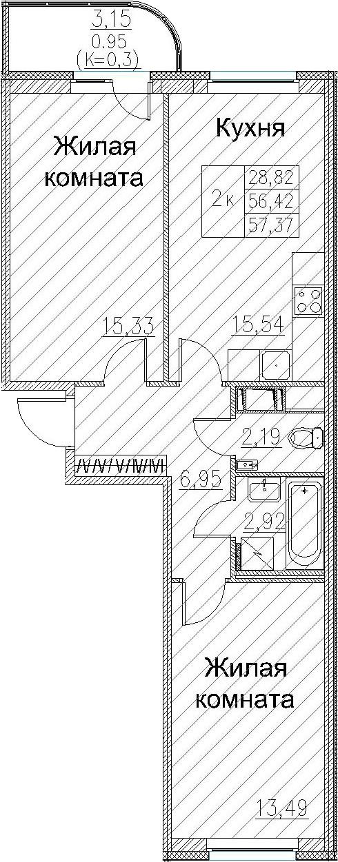 2-к.кв, 59.59 м²