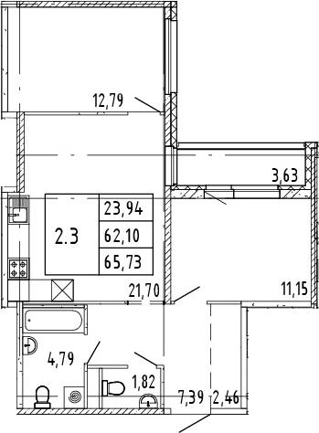 3Е-комнатная, 65.73 м²– 2