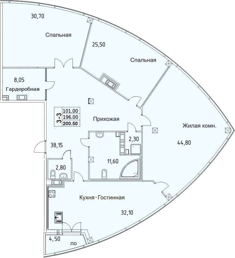 4-к.кв (евро), 205 м²