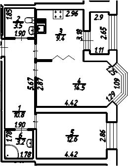 2-к.кв, 55.53 м²