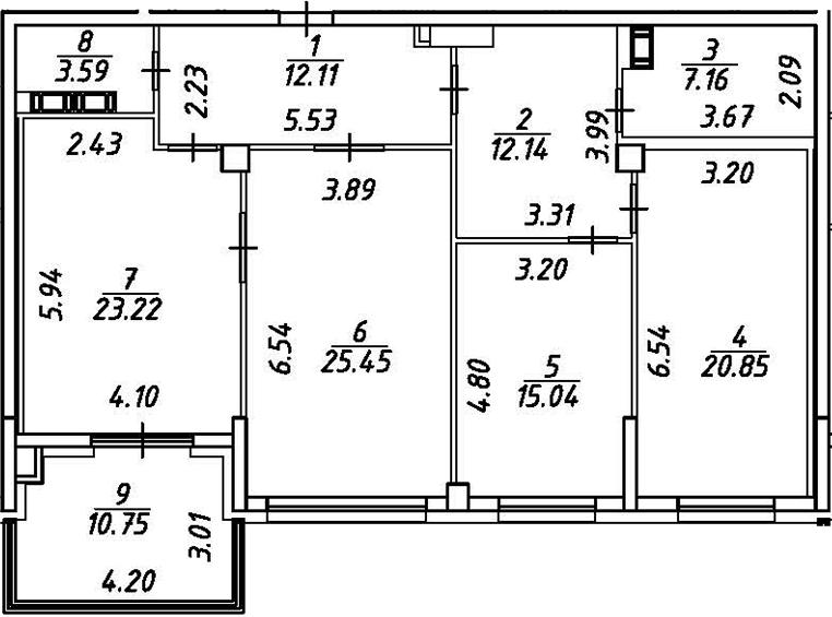 4Е-комнатная, 124.94 м²– 2