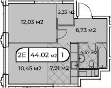 2Е-комнатная, 44.02 м²– 2