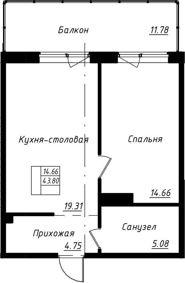 2-к.кв (евро), 55.58 м²