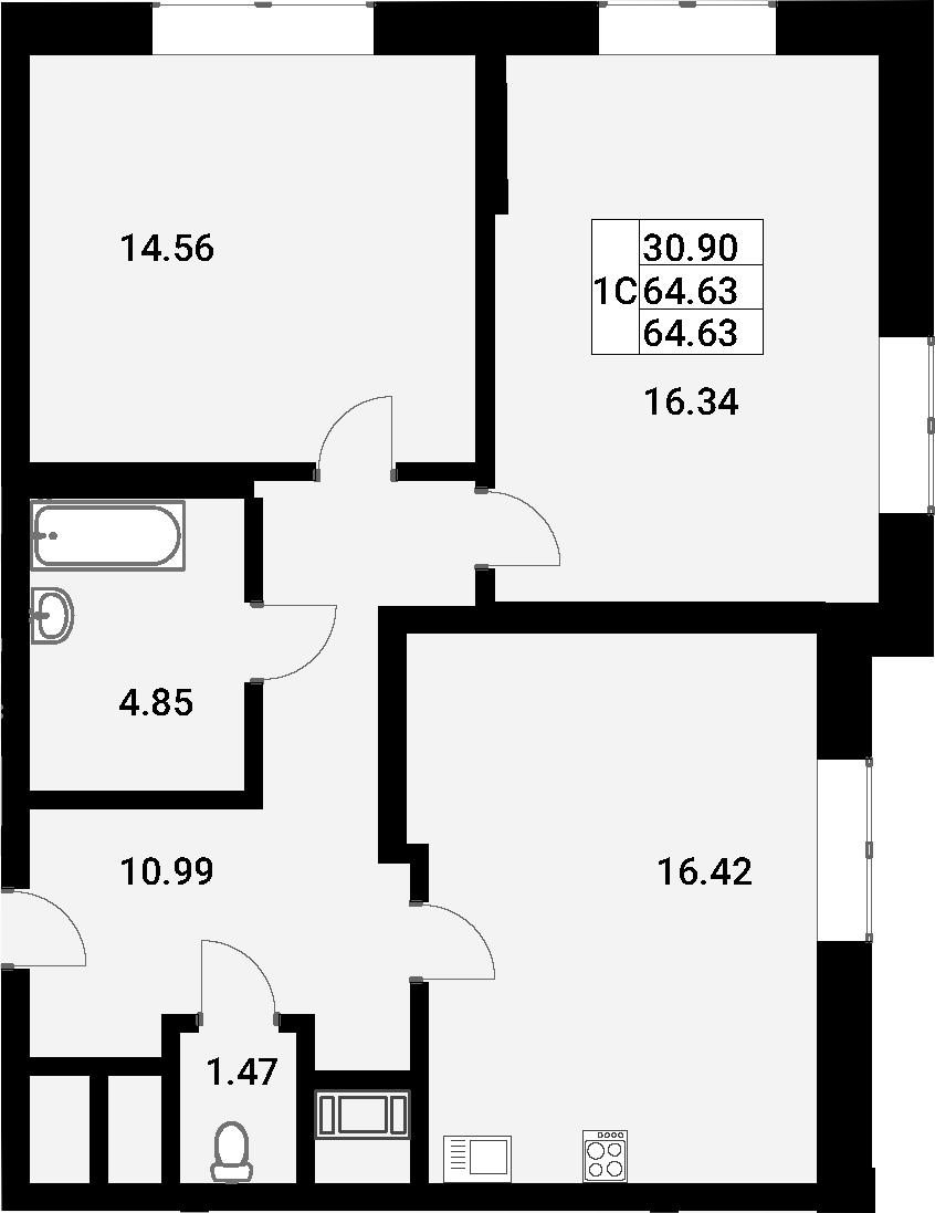 3Е-к.кв, 64.63 м²