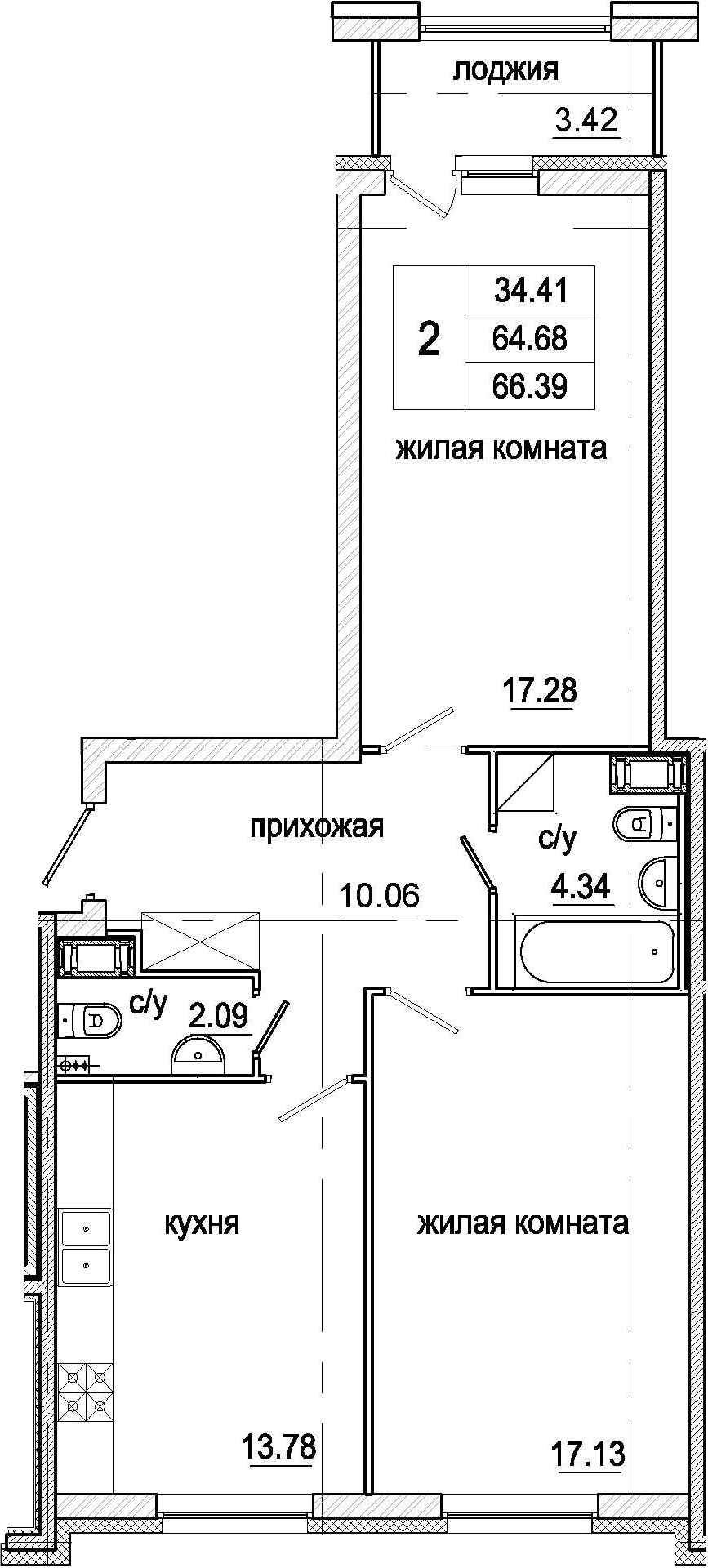 2-к.кв, 66.39 м²