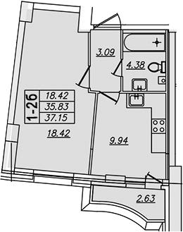 1-комнатная, 37.15 м²– 2