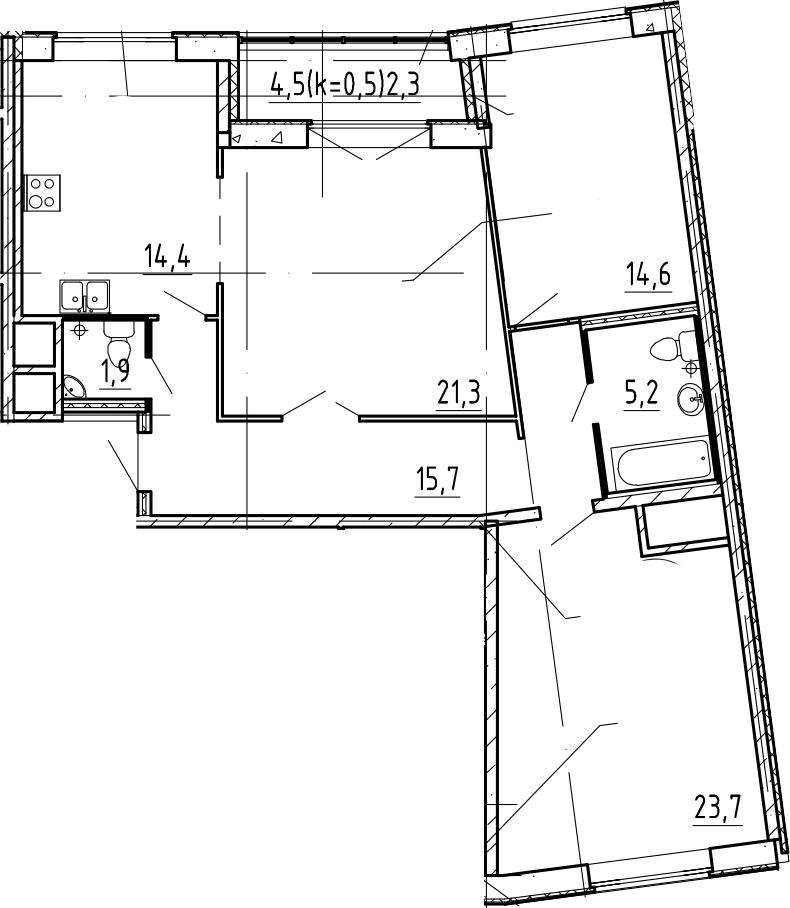 3-к.кв, 101.4 м²