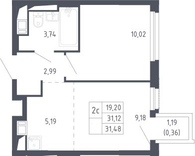 2Е-комнатная, 31.48 м²– 2