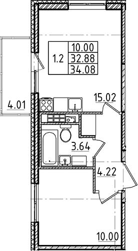 2Е-комнатная, 32.88 м²– 2