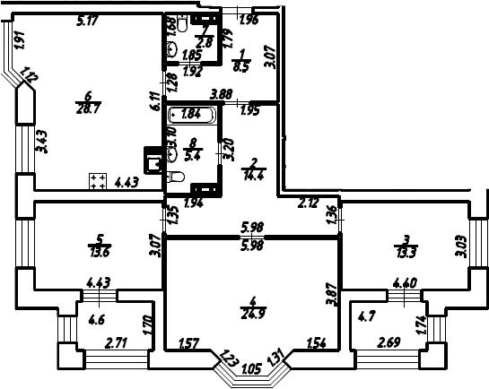 3-к.кв, 116.3 м²