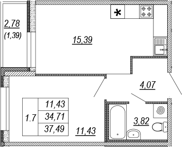 2Е-к.кв, 34.71 м², от 2 этажа