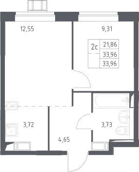 2Е-к.кв, 33.96 м²