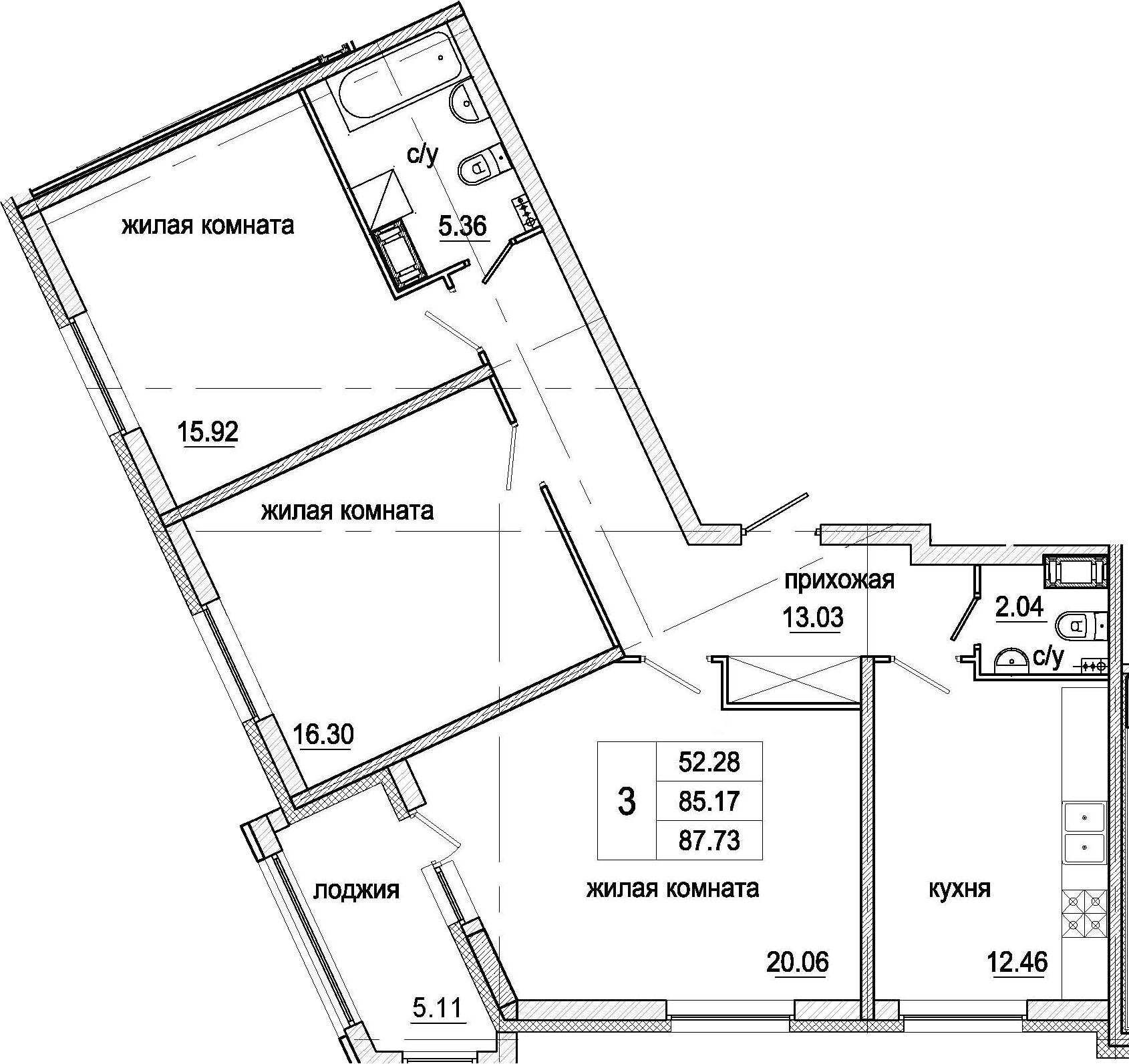 3-к.кв, 87.73 м²