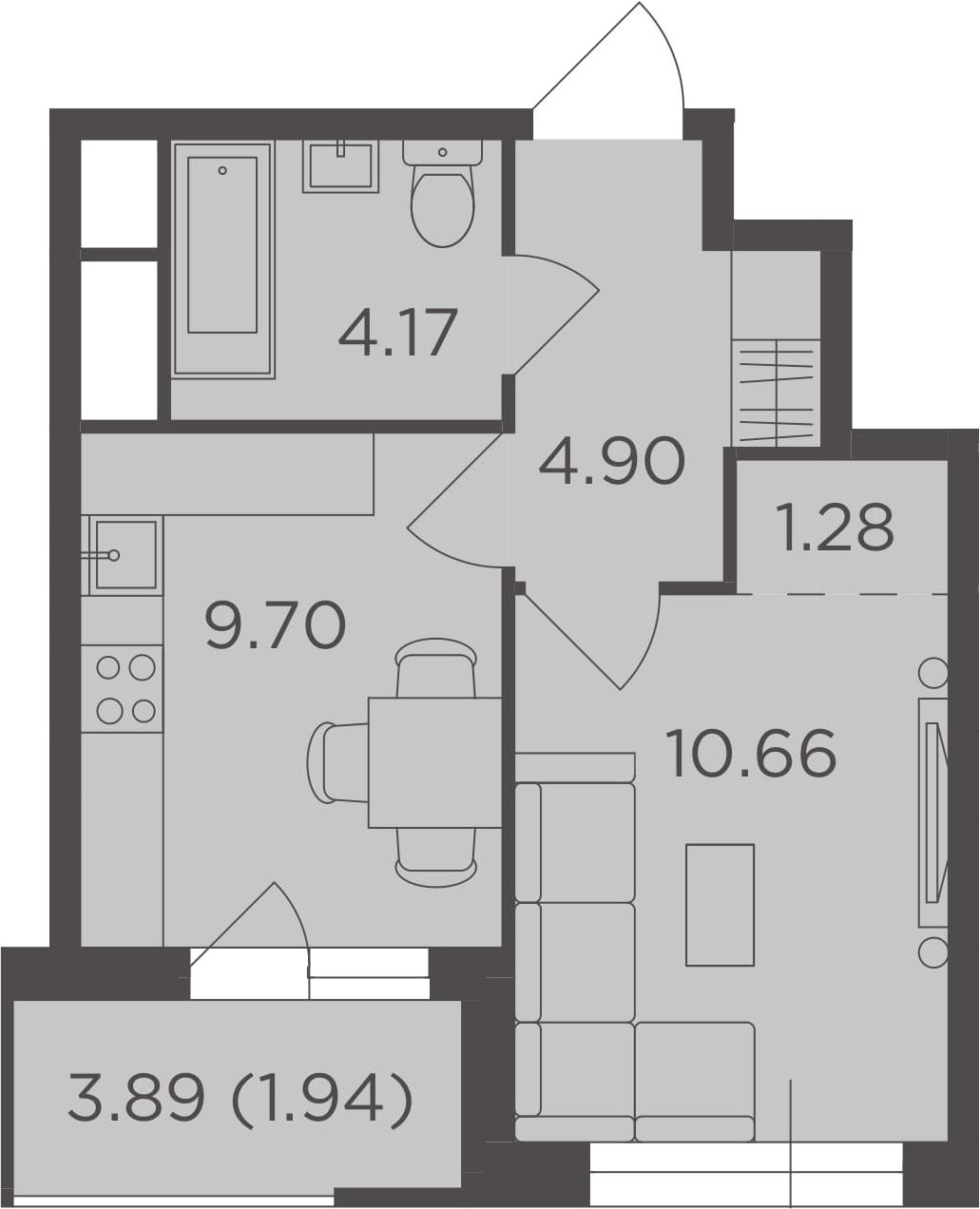 1-комнатная квартира, 32.65 м², 16 этаж – Планировка