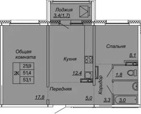 2-к.кв, 53.1 м², от 3 этажа