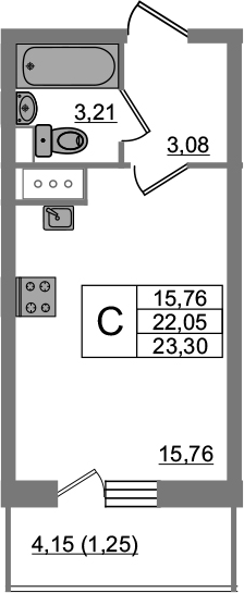 Студия, 26.22 м²