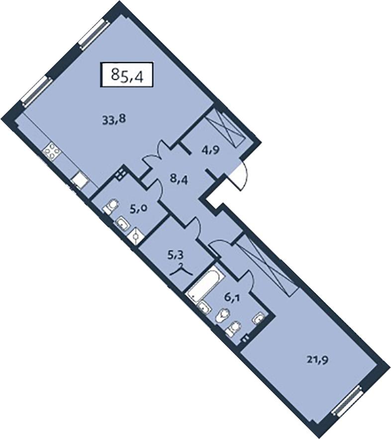 2-к.кв (евро), 85.37 м²
