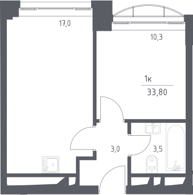2-к.кв (евро), 33.8 м²