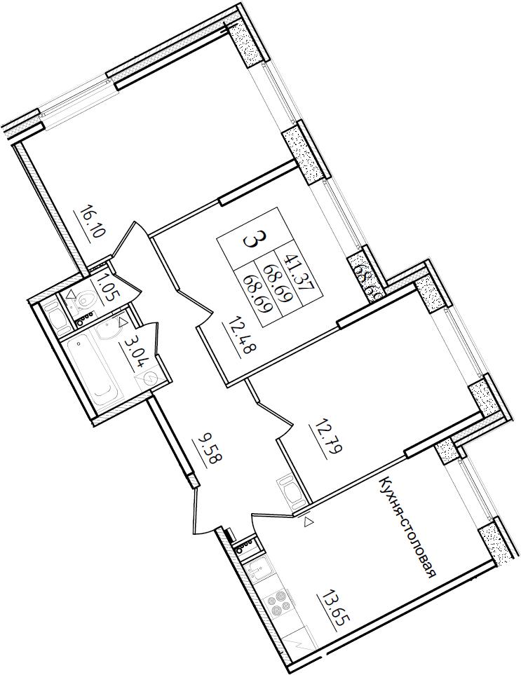 3-к.кв, 68.69 м²