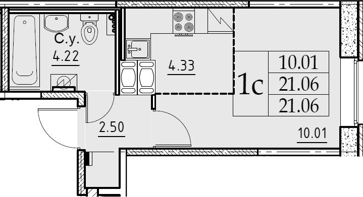 Студия, 21.06 м², 2 этаж