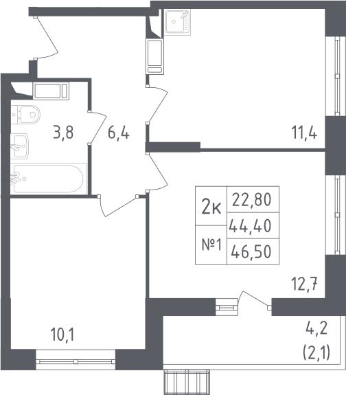 2-к.кв, 46.5 м²
