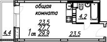 Студия, 32.1 м²